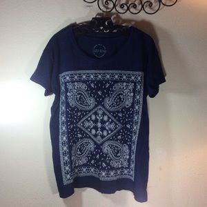 Lucky Brand Tops - Lucky brand embroidery bandanna paisley print Tee